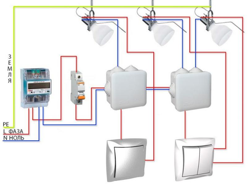 Схема подключения выключателя к лампочке: монтаж своими руками
