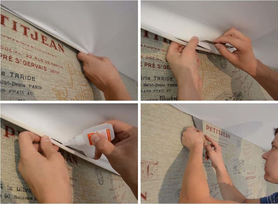 ремонт натяжного потолка у стены